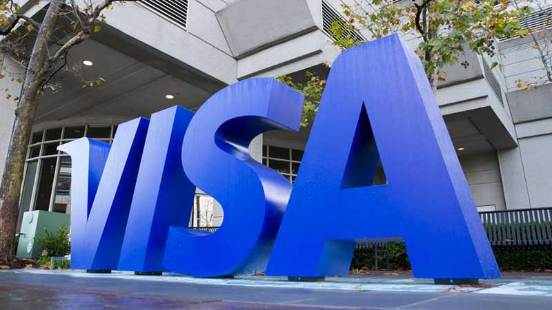 The Visa sign outside the Foster City, California office.